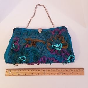 Vintage evening bag in beautiful peacock colors